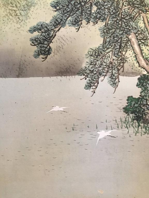 20th Century Japanese Antique SUMMER MIST MOUNTAINSIDE fine Silk Screen, 1921 For Sale