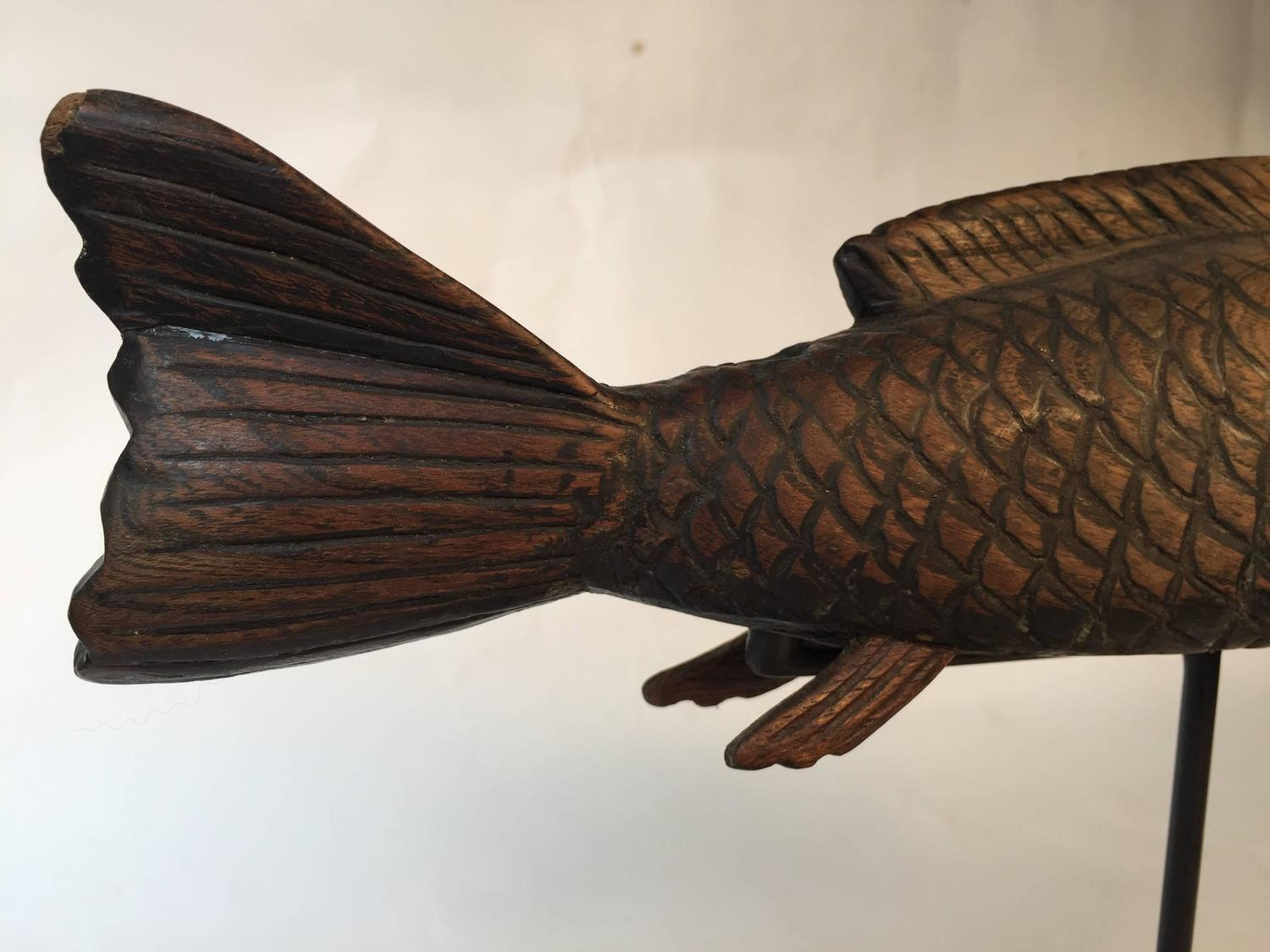 Japanese hand carved wood koi good fortune fish sculpture