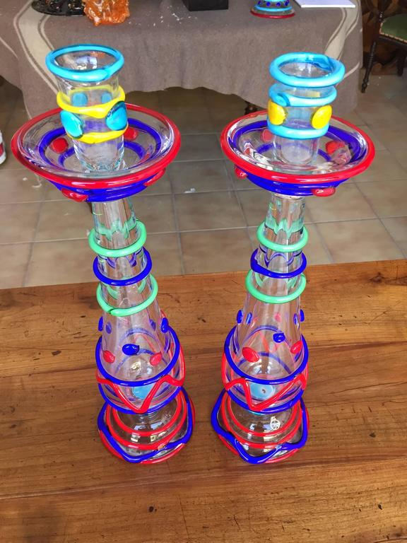 Mid-Century Modern Tall Pair Masterwork Hand Blown Colorful Glass Candle holders, 18