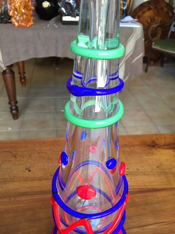Hand-Crafted Tall Pair Masterwork Hand Blown Colorful Glass Candle holders, 18