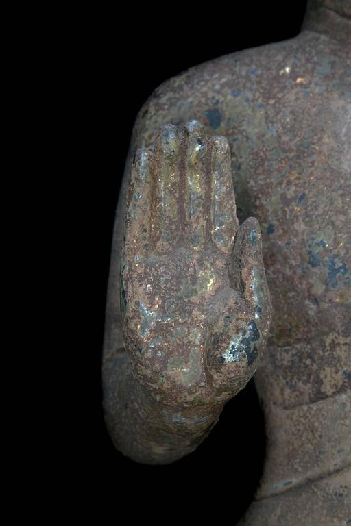 China Important Antique Standing Stone Figure of Buddha In Good Condition For Sale In Shelburne, VT
