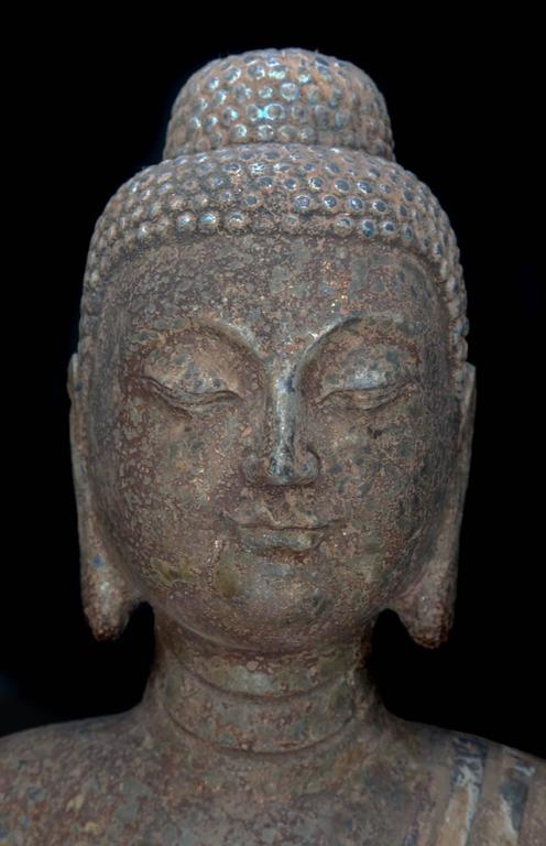 Tang China Important Antique Standing Stone Figure of Buddha For Sale