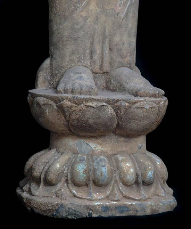 Hand-Carved China Important Antique Standing Stone Figure of Buddha For Sale