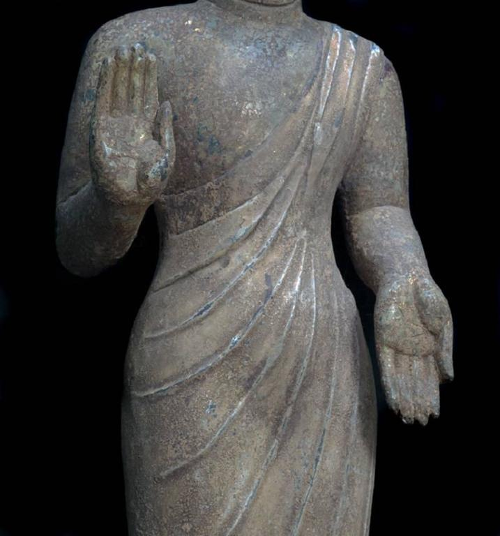 Chinese China Important Antique Standing Stone Figure of Buddha For Sale