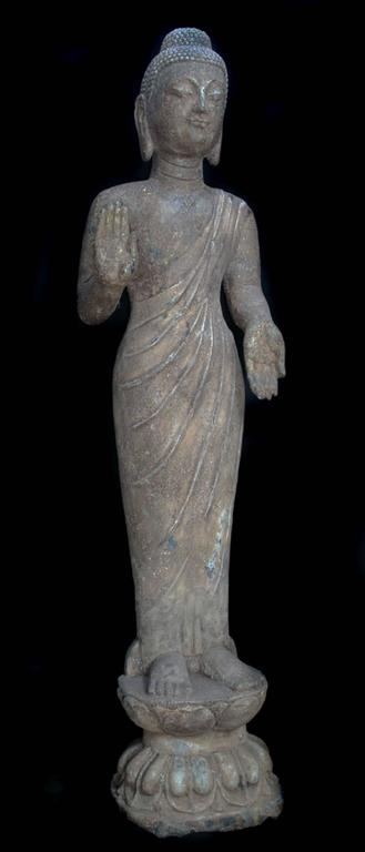18th Century and Earlier China Important Antique Standing Stone Figure of Buddha For Sale