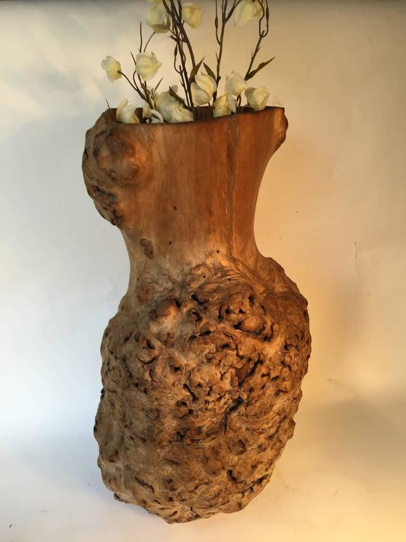 Big Beautiful Old Japanese Natural Organic Root Wood Burl Vase Sculpture For Sale At 1stdibs