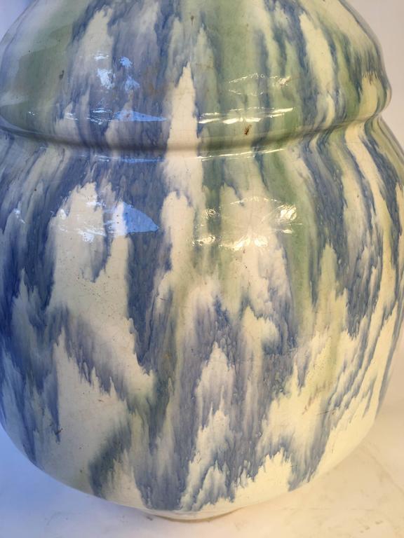 Meiji Japan Fine Large Antique Dreamy Blue Glazed Picasso like Ceramic Vessel signed For Sale