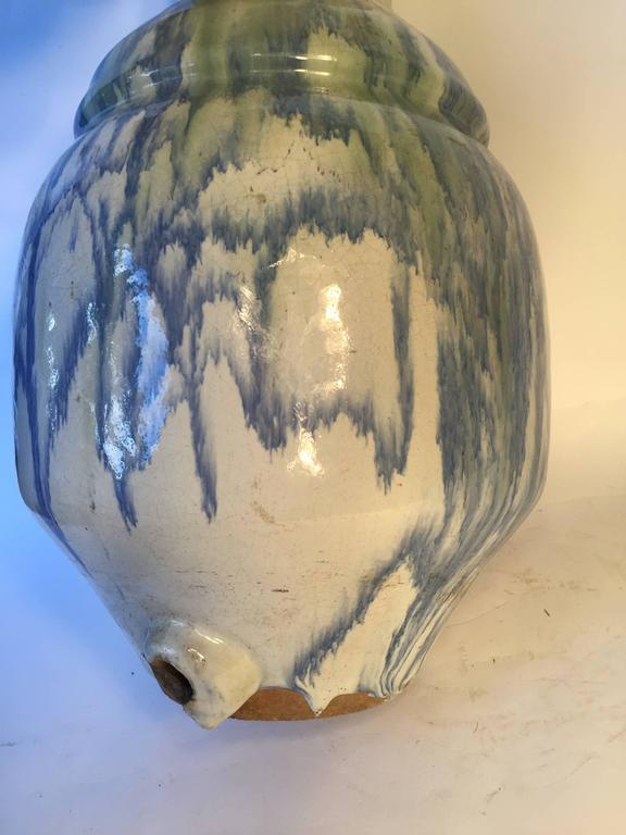 Japan Fine Large Antique Dreamy Blue Glazed Picasso like Ceramic Vessel signed For Sale 2