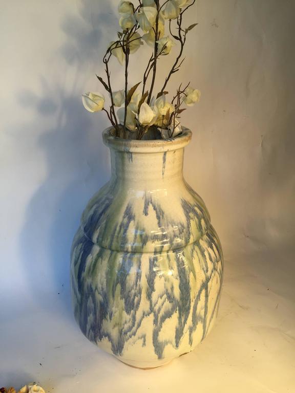 Japanese Japan Fine Large Antique Dreamy Blue Glazed Picasso like Ceramic Vessel signed For Sale