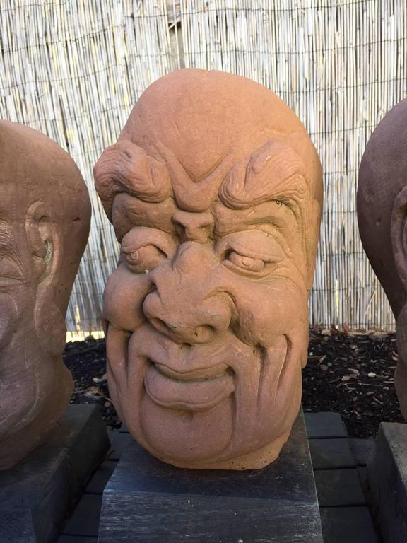 China Five Antique Monumental Hand Carved Stone Garden Monk Sculptures In Good Condition For Sale In Shelburne, VT