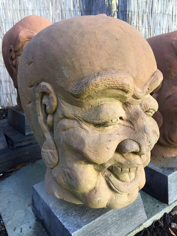 China Five Antique Monumental Hand Carved Stone Garden Monk Sculptures For Sale 1