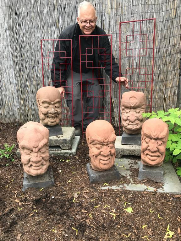 Instant collection, one of a kind.  From western China and collected some 20 years ago, comes this group of five (5) large hand carved red sandstone Lohans or Monks dating to the 19th century.   These characters feature fantastic and exaggerated