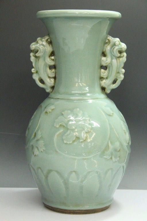 Beautiful Chinese Large Porcelain Celadon Lotus Vase At 1stdibs