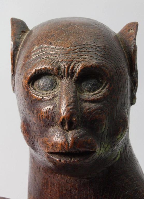 Japanese Hand Carved Wood 19th Century Monkey Sculpture At