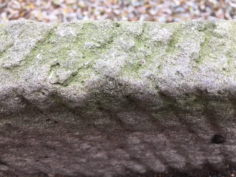 Limestone  Japanese Antique 19th Century Hand carved Stone Planter