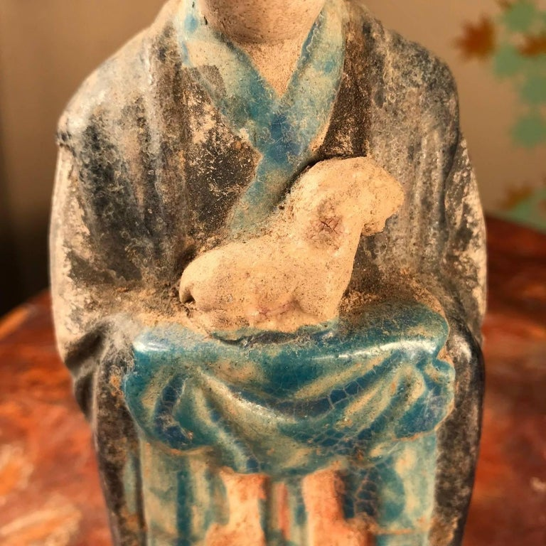 Important Ancient Chinese Zodiac Figure Holding a Sheep, Ming Dynasty, 1368-1644 In Excellent Condition For Sale In Shelburne, VT