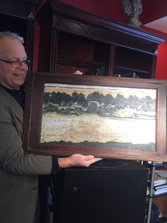 This Chinese extraordinary natural stone painting of a series of mountain tops or Crags is called a dream stone Shih-hua. They are cut from historic Dali marble found in the Cangshan mountains of western China. These mysterious mountains, unique in