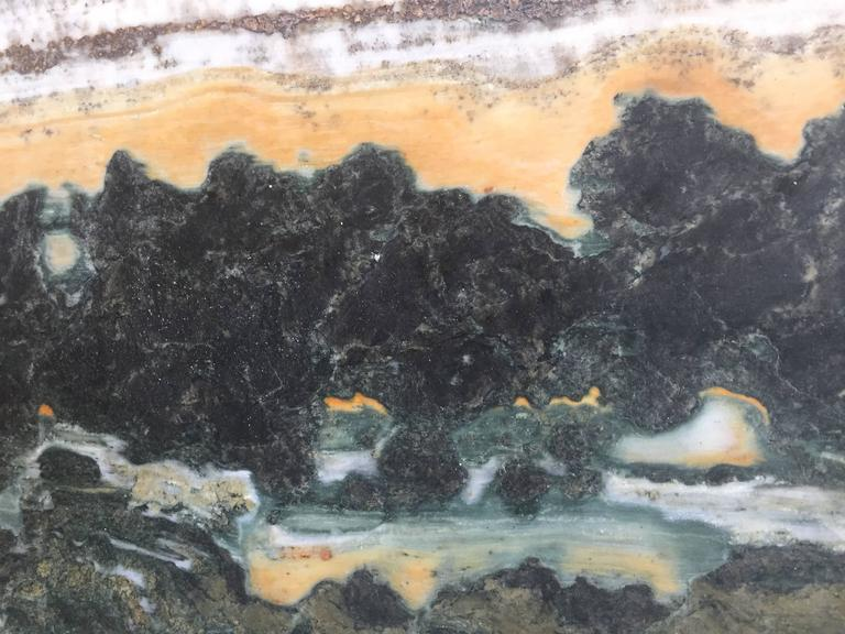 Wood Important China Master Work Extraordinary Natural Stone Painting 19 Crags For Sale
