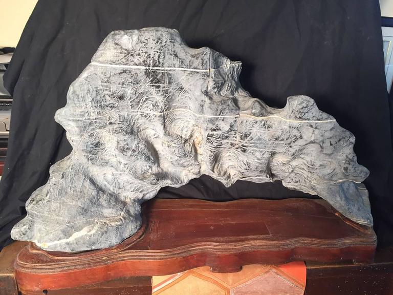 Superb Chinese Natural Viewing Stone Long Bridge Hardwood Base For Sale 3