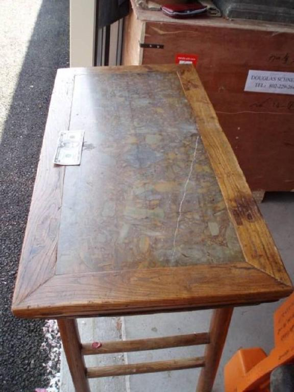 China antique stone inlaid wine table, middle Qing dynasty (1644-1911), 18th/19th century.  Elm wood (Humu) with original pudding stone inlay with one fine marble inclusion seen in the stone ( photo).   All original and  No damages and No