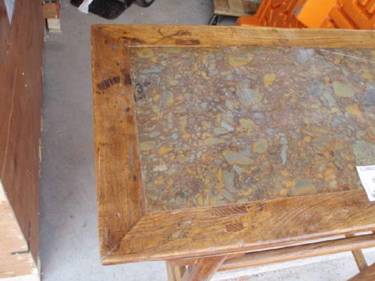Hand-Crafted Chinese Antique Hardwood Wine Table with Rare Pudding Stone Inlay, Qing Dynasty For Sale