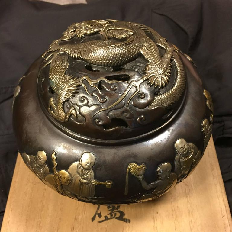 Showa  Fine Silver & Gold Bronze Buddha &  Dragon Censer, 1930 Mint Signed & Boxed For Sale