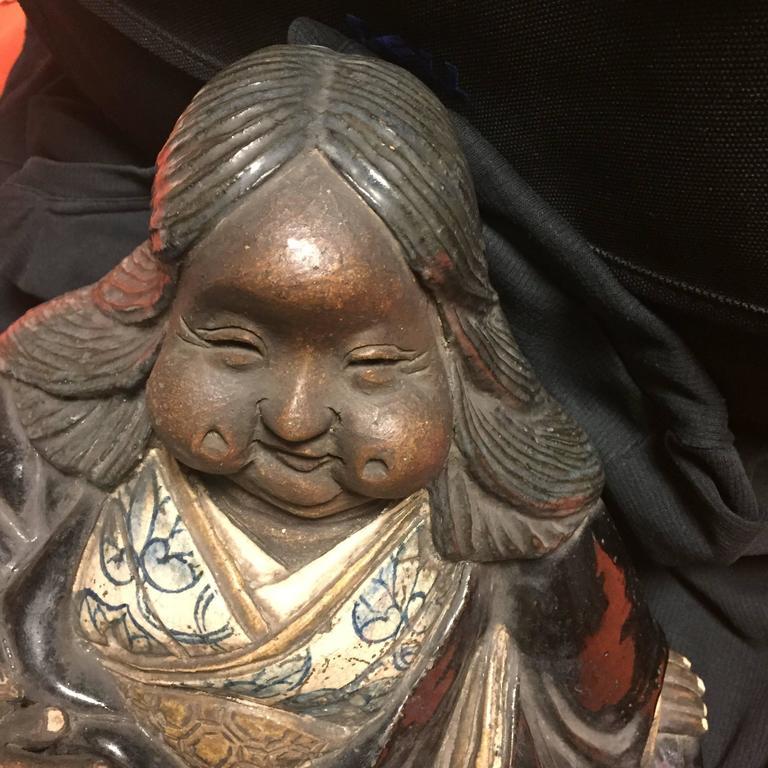 Japanese Large Antique Folk Art Lady Okame Sculpture by Master