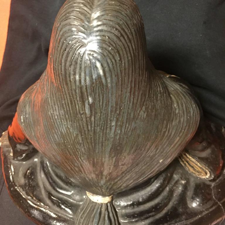 Ceramic Japanese Large Antique Folk Art Lady Okame Sculpture by Master