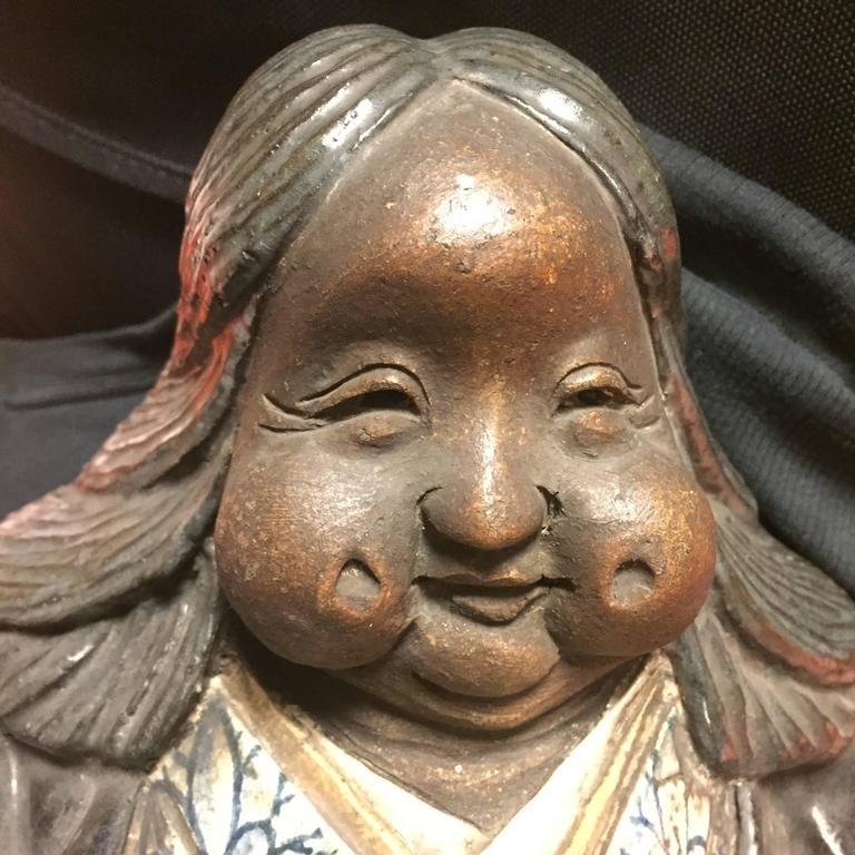 Glazed Japanese Large Antique Folk Art Lady Okame Sculpture by Master