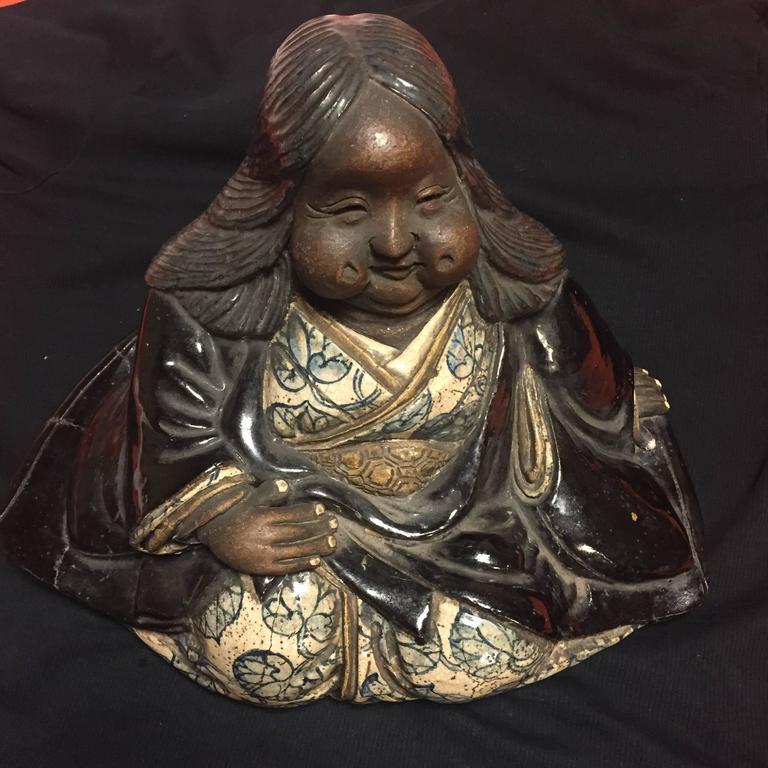 Taisho Japanese Large Antique Folk Art Lady Okame Sculpture by Master