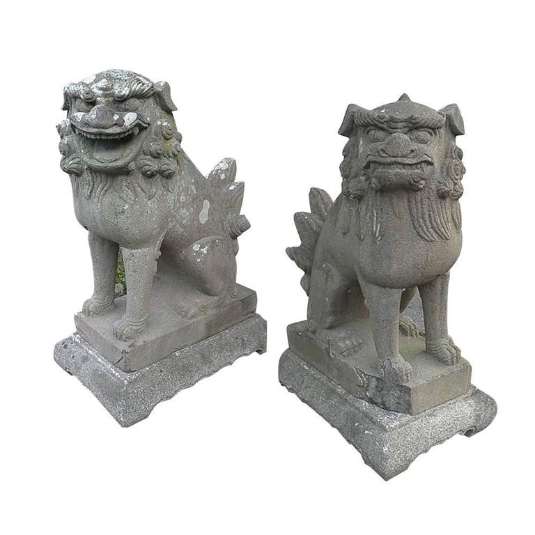 Japan important early temple lions hand carved stone pair