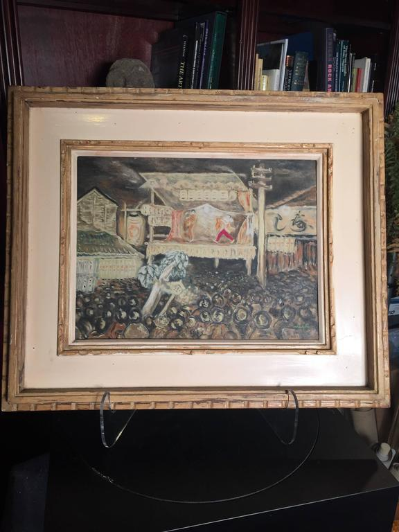 Showa Japanese Inviting Noh Play Impressionist Oil Painting Signed, 1930 For Sale