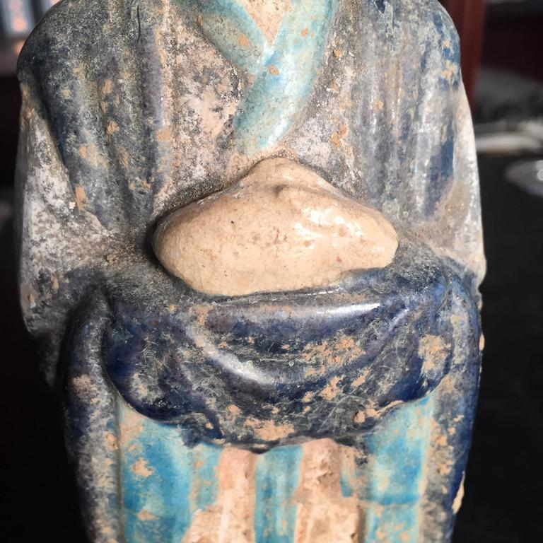 Important Ancient Chinese Zodiac Figure Holding a Rabbit, Ming Dynasty 1368-1644 In Good Condition For Sale In Shelburne, VT