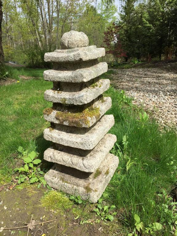 For your special garden  Here's the only hand-carved antique granite stone Korean Pagoda we have had the pleasure of owning- a superb and desirable garden treasure from Korea.   This is a rare and finely crafted hand-carved seven tiered pagoda