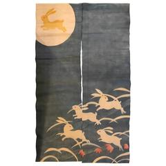 """Japanese Moon Rabbits Doorway Curtain """"Noren"""""""