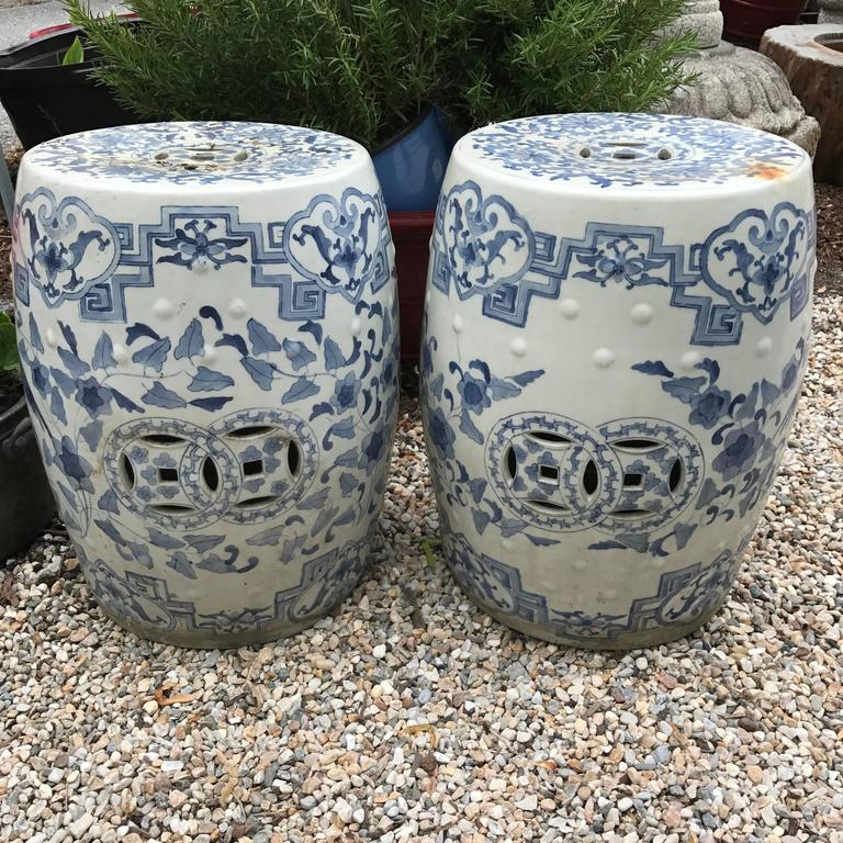 Chinese Antique Pair Of Hand Painted Blue And White Garden