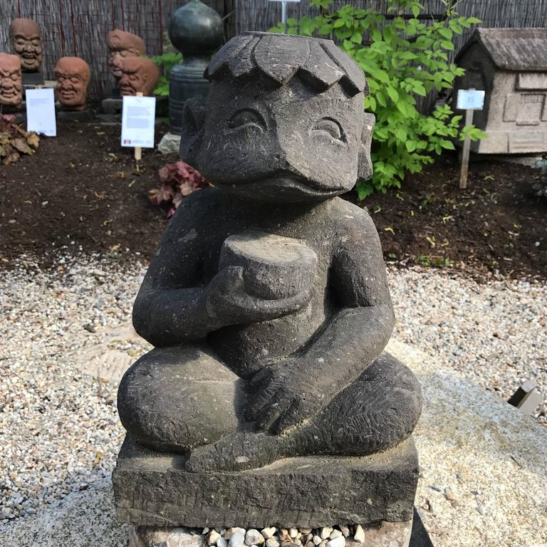 Japanese Japan Old Kappa Folk Art Garden Water Deity - hand carved stone For Sale