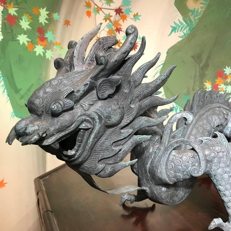 Chinese Fine Antique Bronze Dragon, Qing Dynasty In Good Condition For Sale In Shelburne, VT