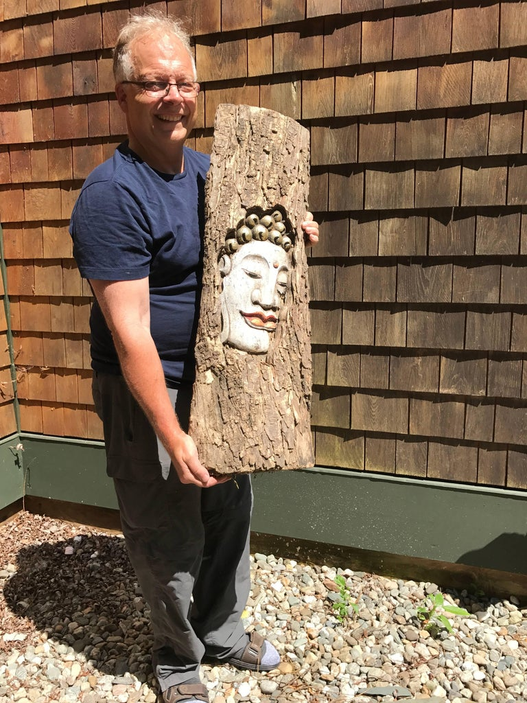 When I first learned that a friend of mine had discovered an overseas warehouse with a few old Buddhist panels found in a corner- he got my immediate attention. We went one to acquire two of the best examples found and here is the first. While this