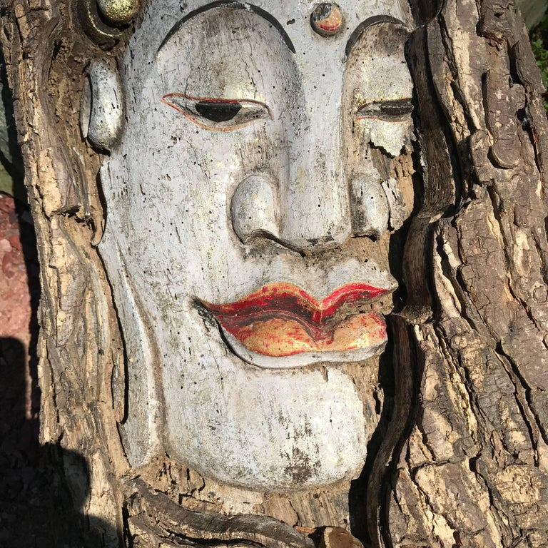"""Old Hand-Carved Buddha Sculpture 34"""" tall In Good Condition For Sale In Shelburne, VT"""