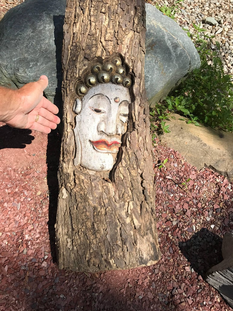 """20th Century Old Hand-Carved Buddha Sculpture 34"""" tall For Sale"""