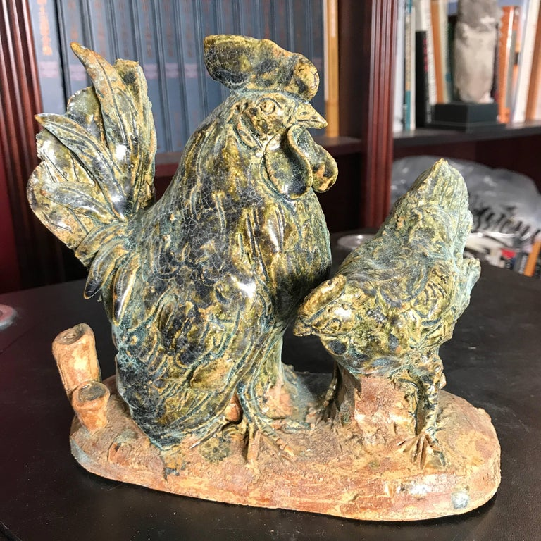 Showa Japanese Rooster & Hen Handmade Hand-Painted Ceramic Sculptures Mint, Pair For Sale