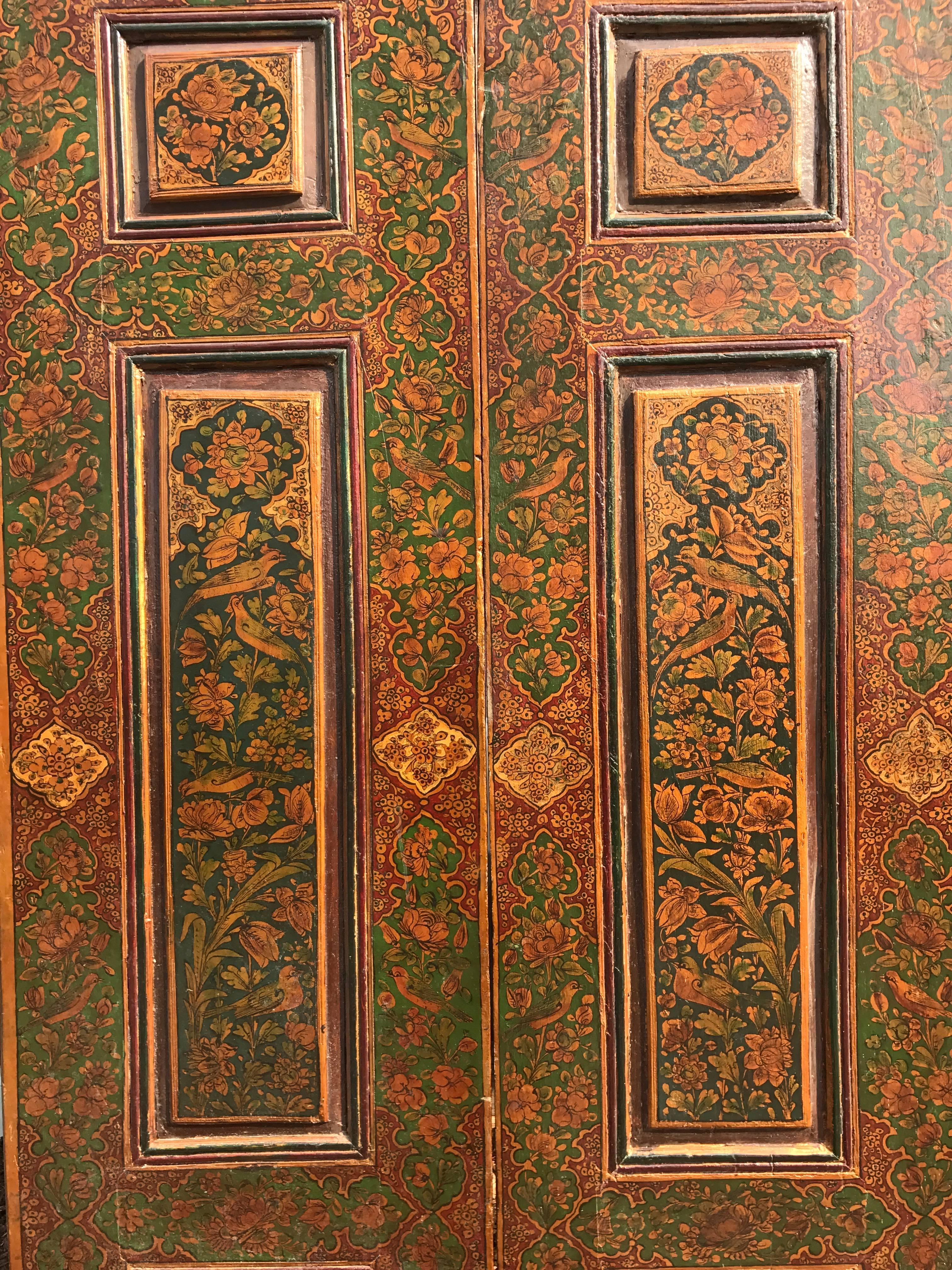 Persian Antique Pair of Hand-Painted \ Birds \u0026 Flowers\  Raised Panel Doors & Antique Pair of Hand-Painted \