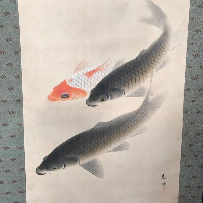 Taisho Japanese Scroll Swirl of Five Koi Fish Hand Painting on Silk, Signed Box For Sale