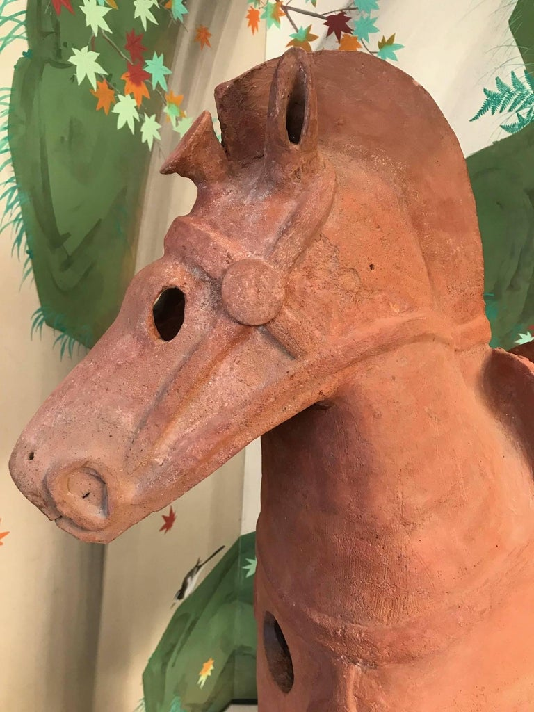 Pottery Important Large Ancient Japanese Tall Elite Horse, Kofun Period 593-710 AD For Sale