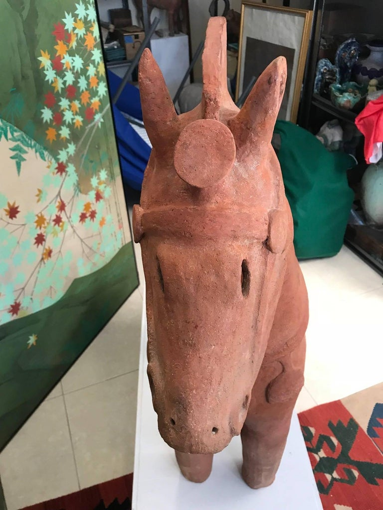 Important Large Ancient Japanese Tall Elite Horse, Kofun Period 593-710 AD For Sale 2