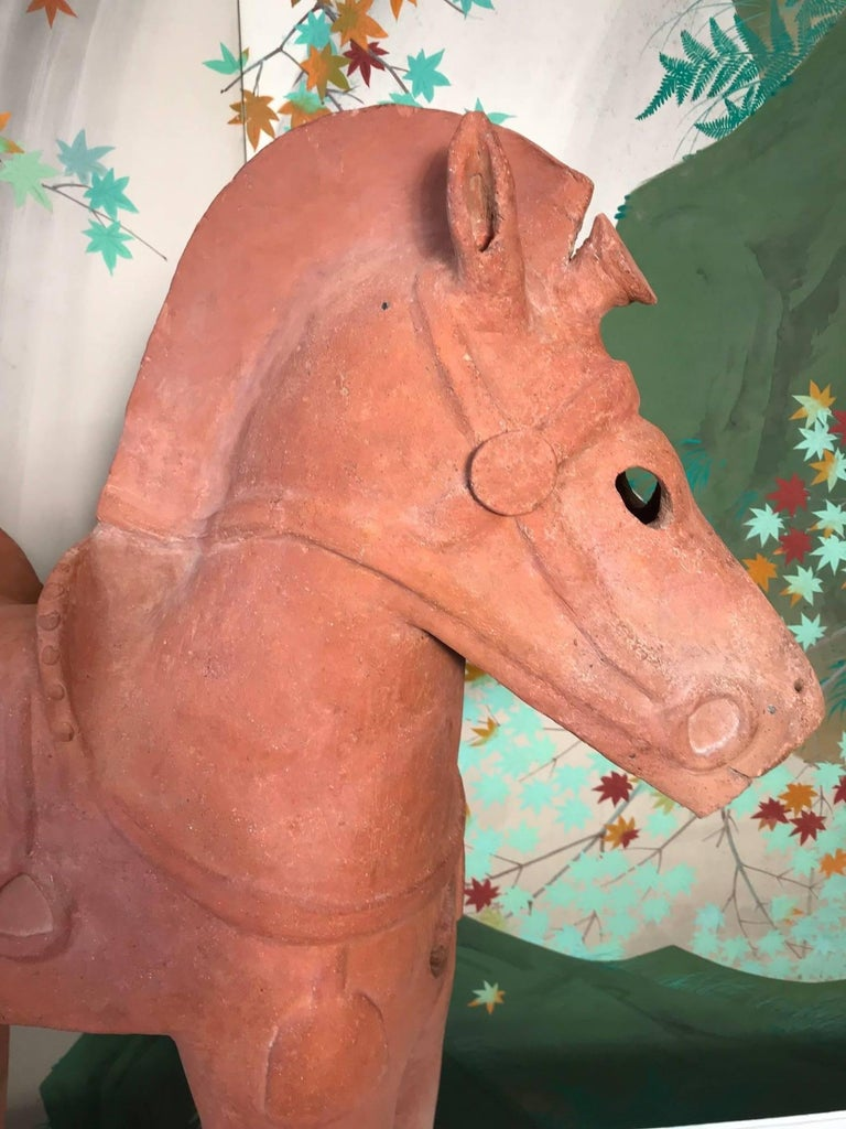 Important Large Ancient Japanese Tall Elite Horse, Kofun Period 593-710 AD In Good Condition For Sale In Shelburne, VT