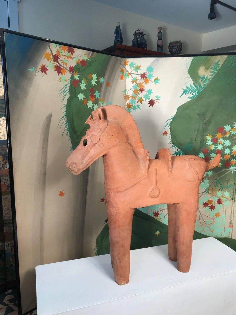 18th Century and Earlier Important Large Ancient Japanese Tall Elite Horse, Kofun Period 593-710 AD For Sale