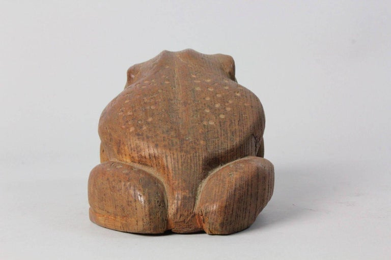 Granite Japan Fine Antique Frog Toad Critter Hand-Carved Keyaki Wood, Early 20th Century For Sale