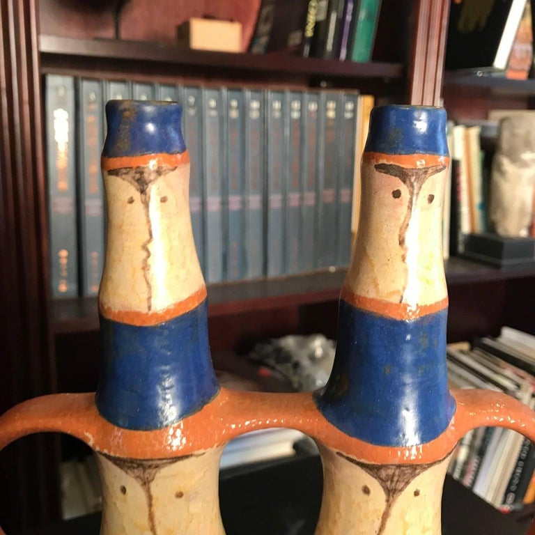 "Ceramic ""Mates for Life""  Hand Painted Vase Master Designer Eva Fritz-Lindner For Sale"